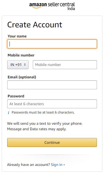 Login screen of Amazon seller registration