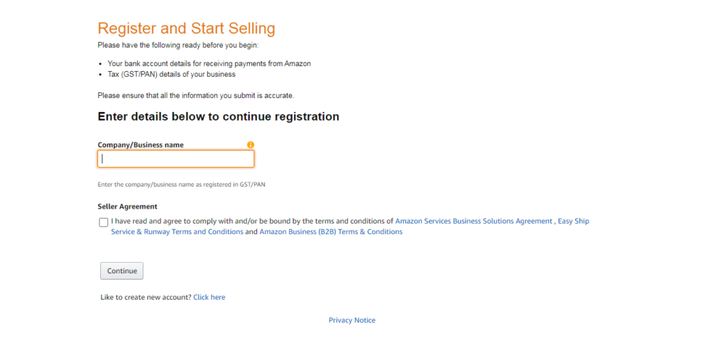 Creating Amazon Seller Account- Enter Business Info Screen