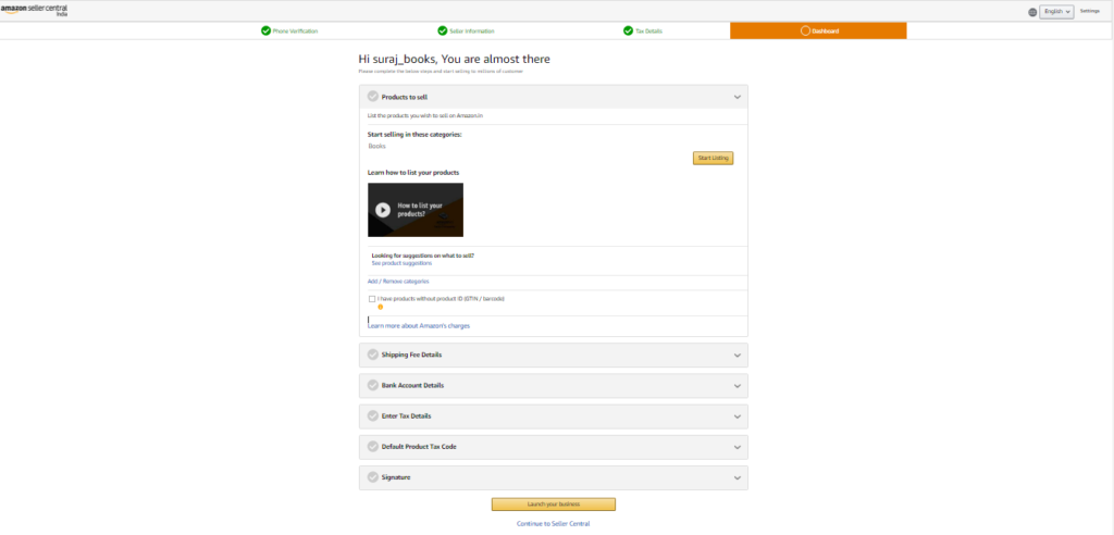 Amazon Seller Account - Dashboard Page