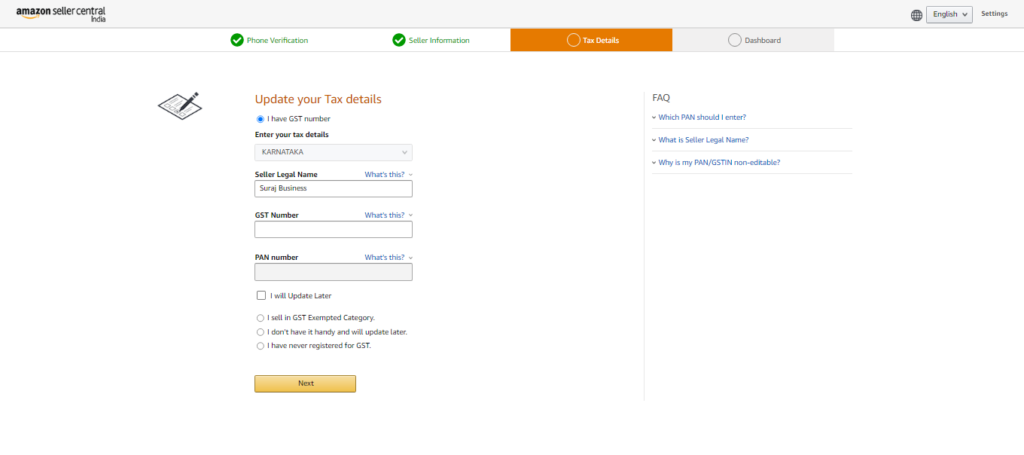 Amazon Seller Account - Tax Details Page